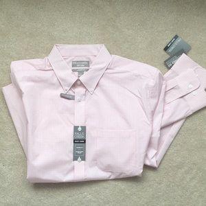 NWT men's pink/white dress shirt large